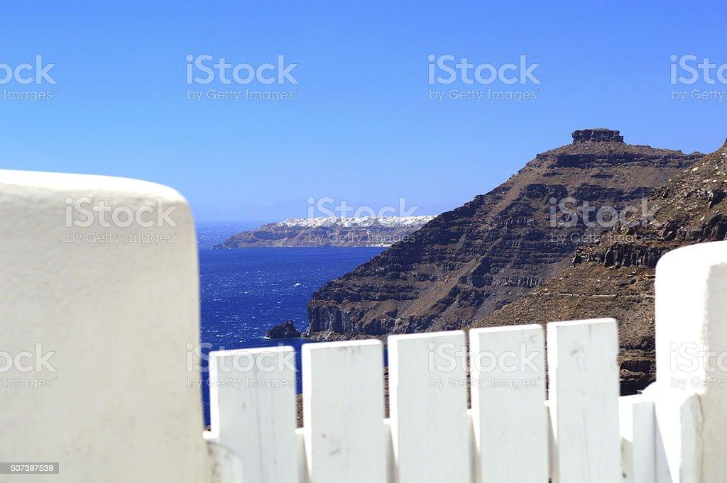 View on Oia and Skaros rock, Santorini stock photo
