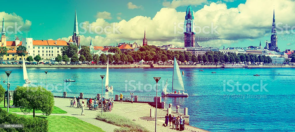 View on Old Riga on sunny summer day, Latvia stock photo