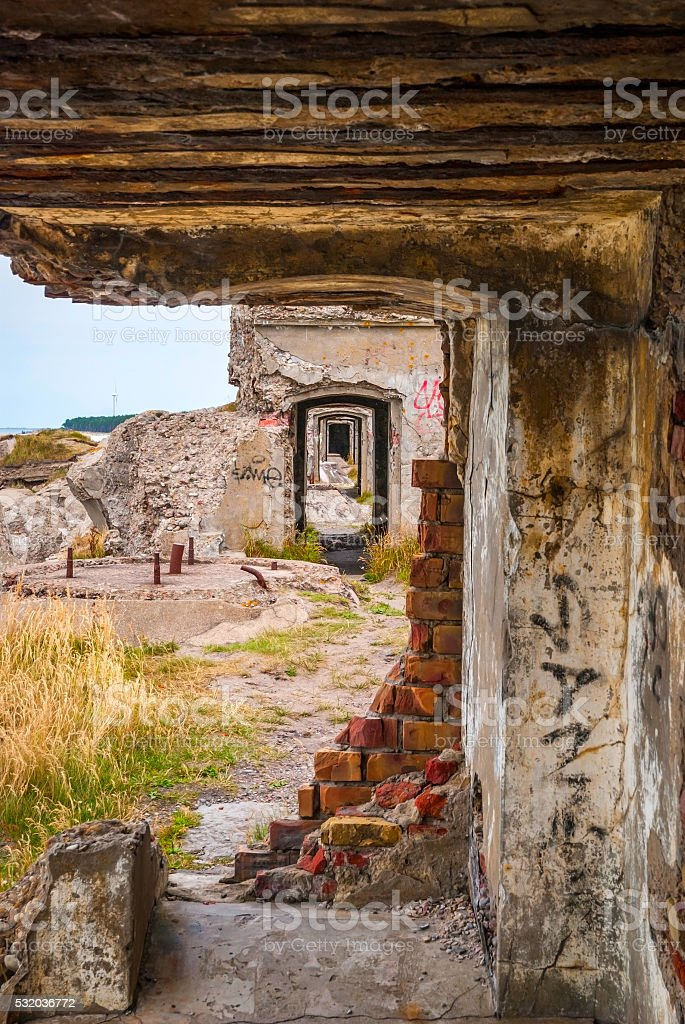 View on old stone passage way in ussr fortress stock photo