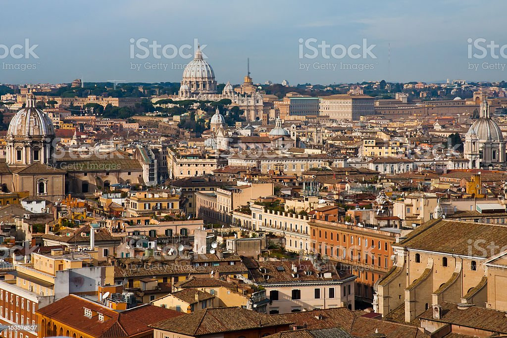 view on old town and St Peter Basilica stock photo