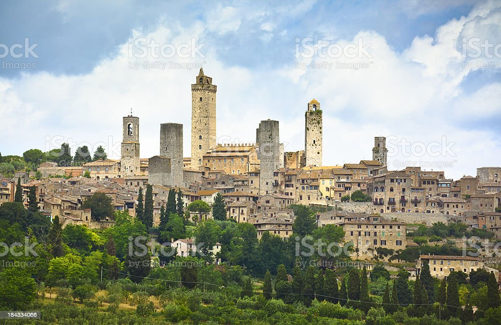 View on old town of San Giminiano (Tuscany, Italy). stock photo