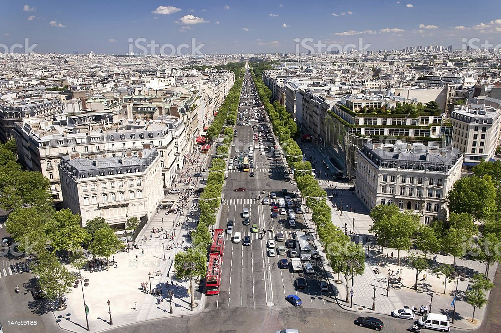 View on Paris from Arc de Triomphe, France royalty-free stock photo