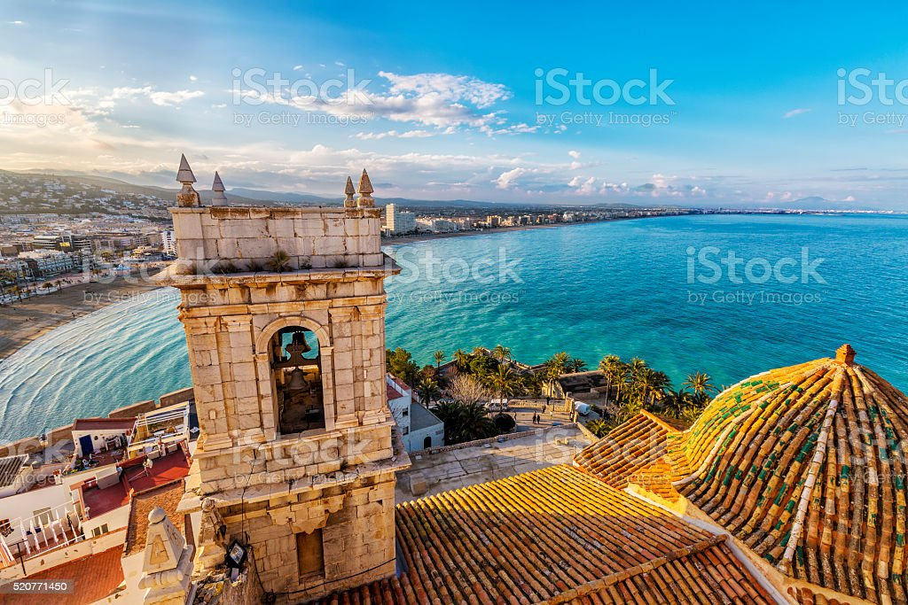 View on Peniscola  from the top of Pope Luna's  Castle stock photo