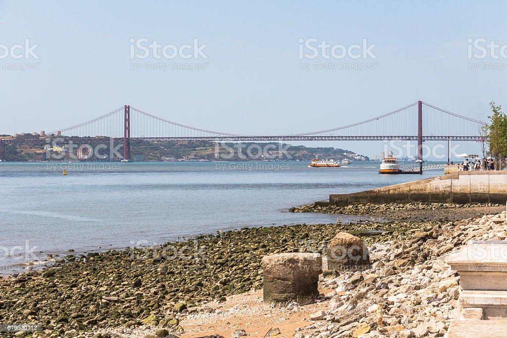 View on Ponte de 25 abril in Lisbon stock photo