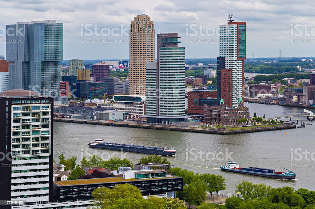 View on Port of Rotterdam business area stock photo