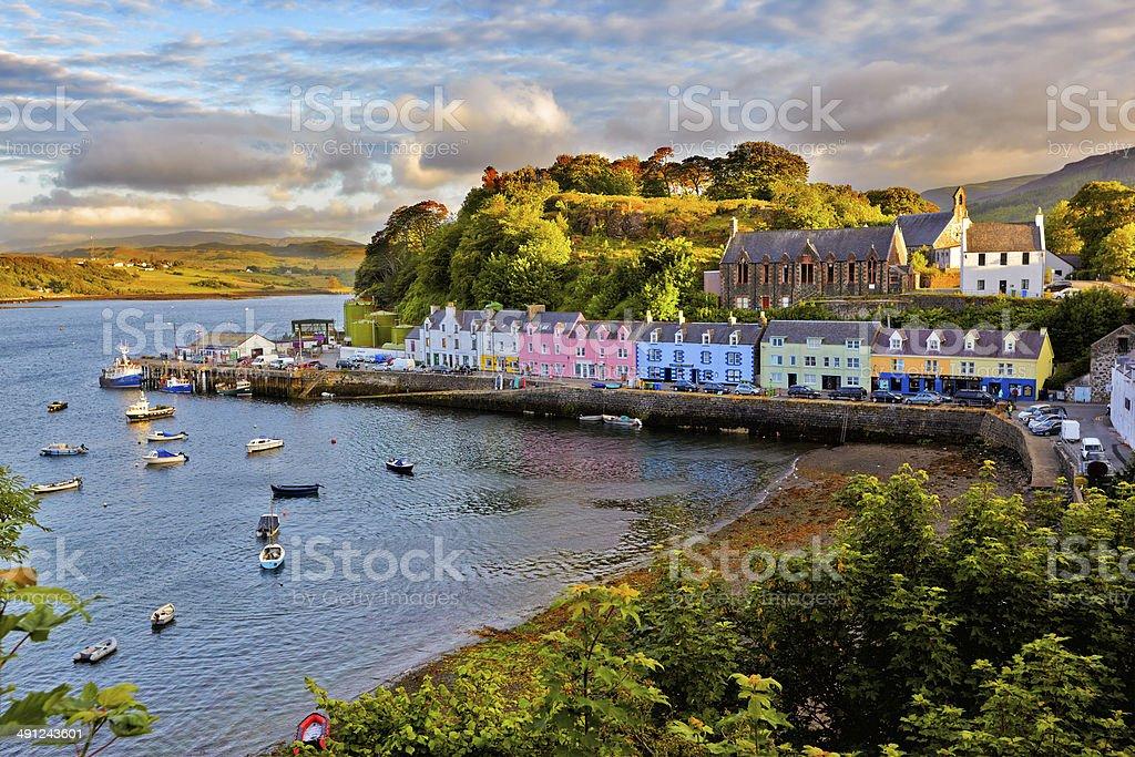 view on Portree, Isle of Skye, Scotland stock photo