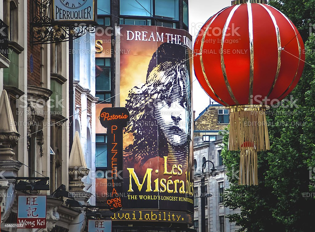 View on poster 'Les Misérables' in London. stock photo