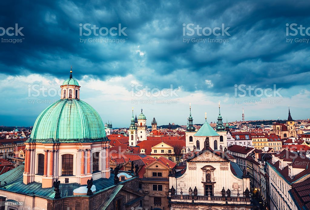 View On Prague Steeples On Cloudy Day stock photo