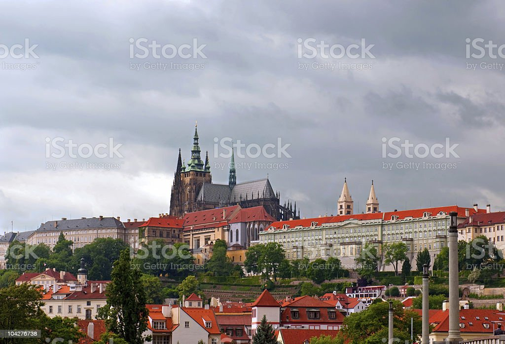 View on Prague`s roof and St. Vitus Cathedral. royalty-free stock photo