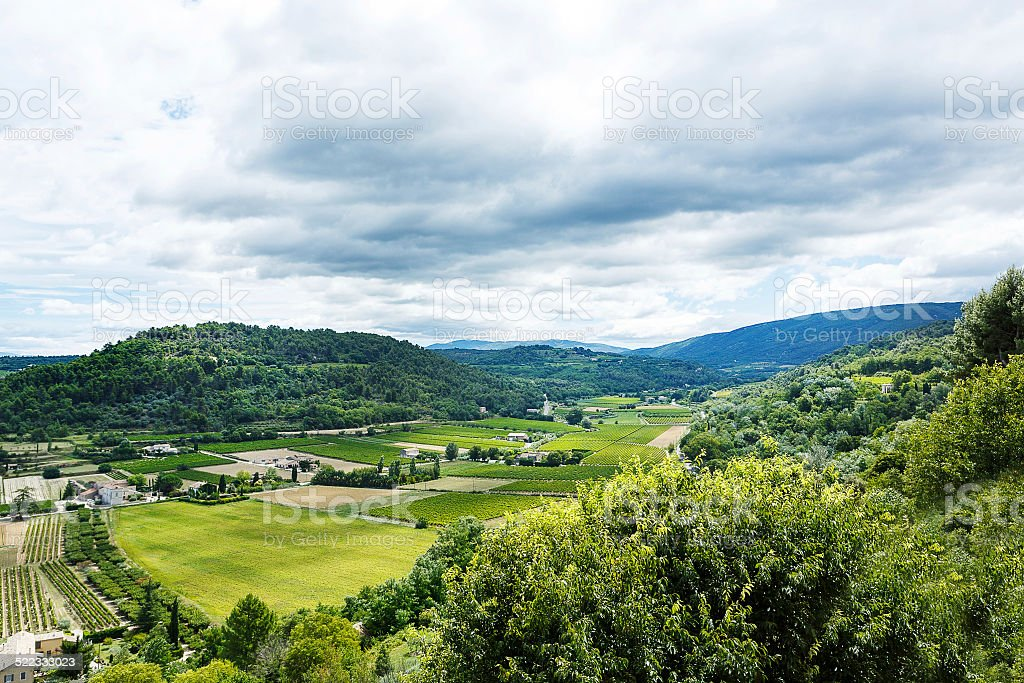 View on Provence village roof and landscape. stock photo