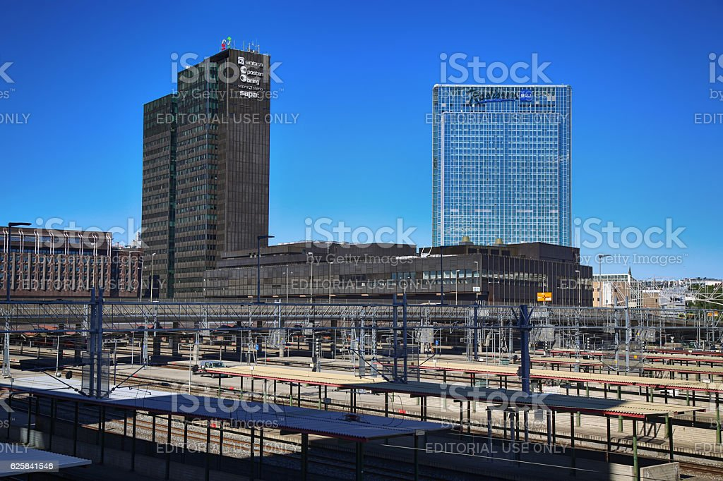View on railway tracks and modern buildings in Oslo, Norway stock photo