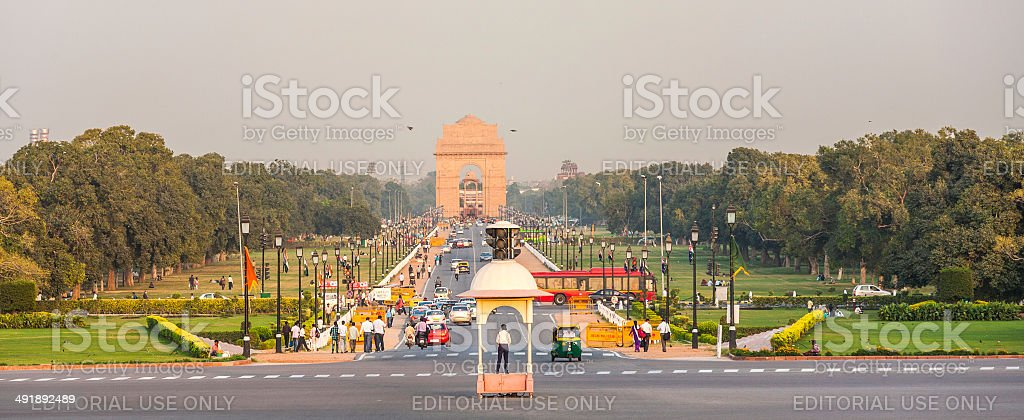 view on Rajpath boulevard to India gate stock photo