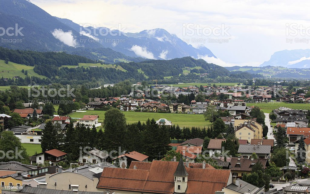 View on Rattenberg, Tirol as from the local castle (2008) stock photo