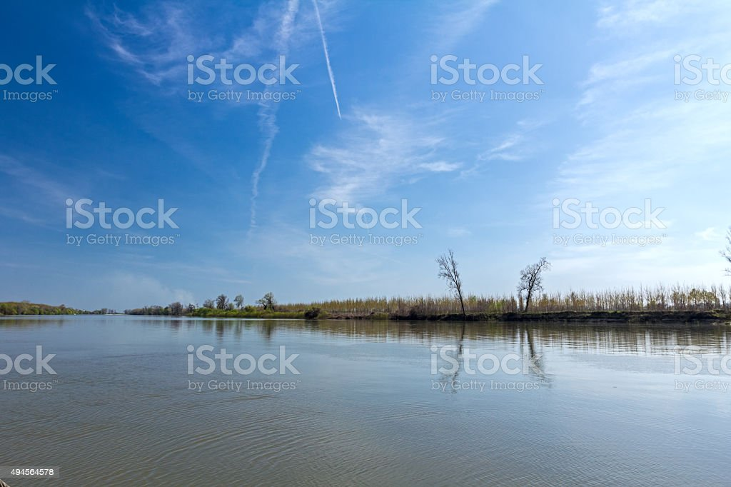 View on riverbank landscape. stock photo