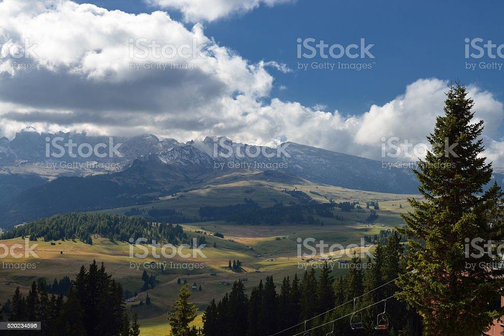 View on Rosengarten, Dolomites, Italy stock photo