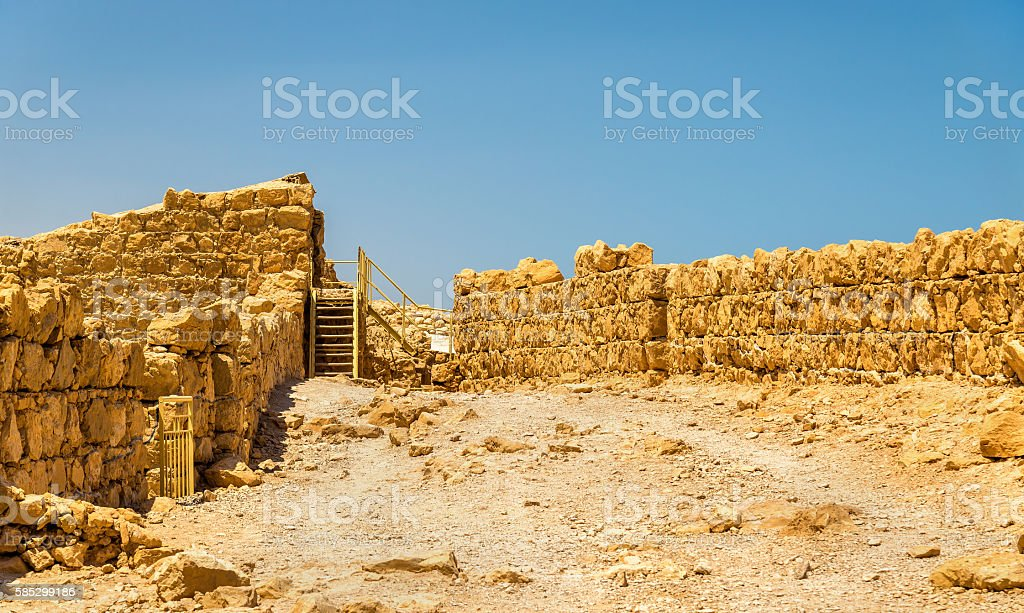 View on ruins of Masada fortress - Judaean Desert, Israel stock photo