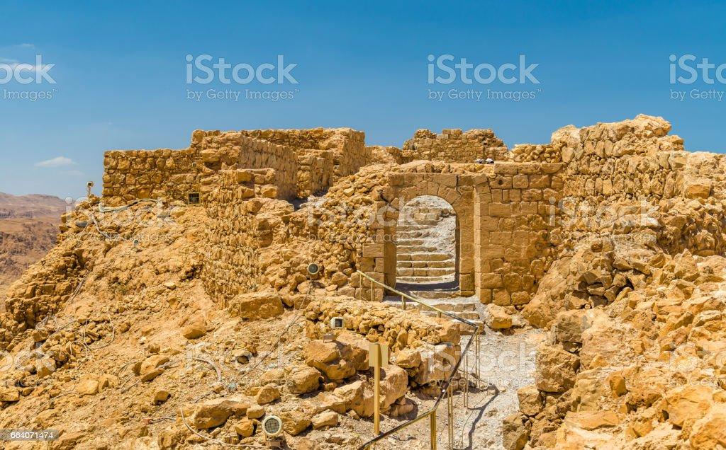 View on ruins of Masada fortress - Judaean Desert, Israel stock photo