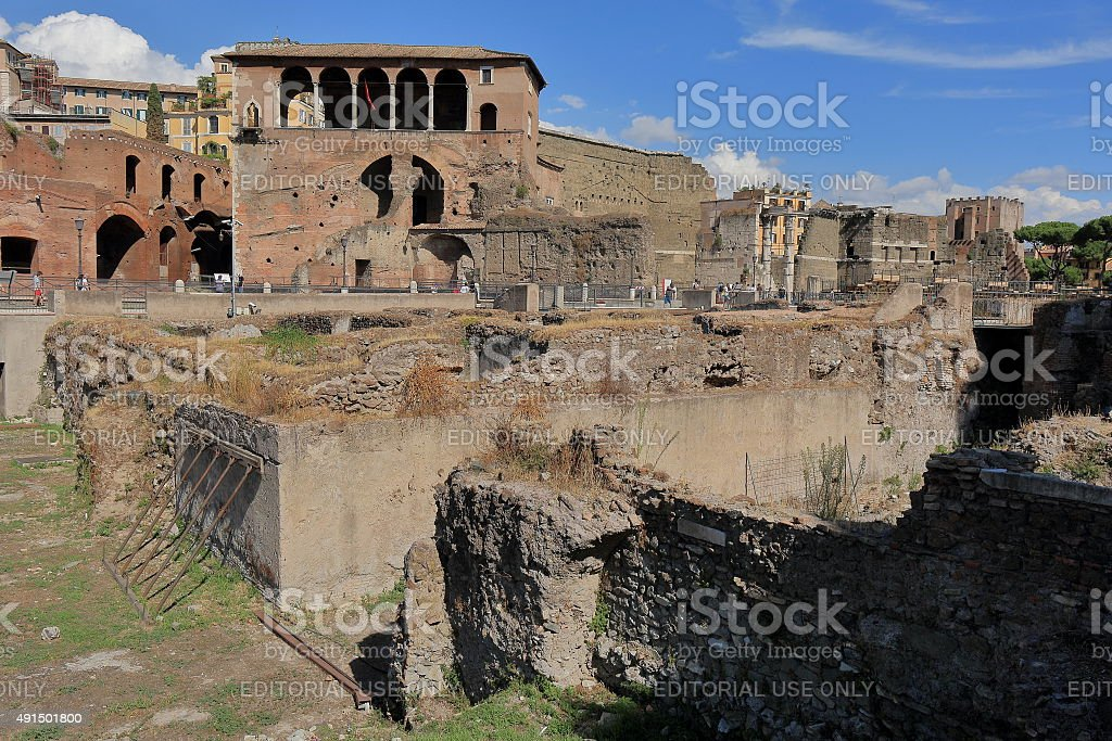 View on ruins of the Trajan Forum in Rome, Italy stock photo
