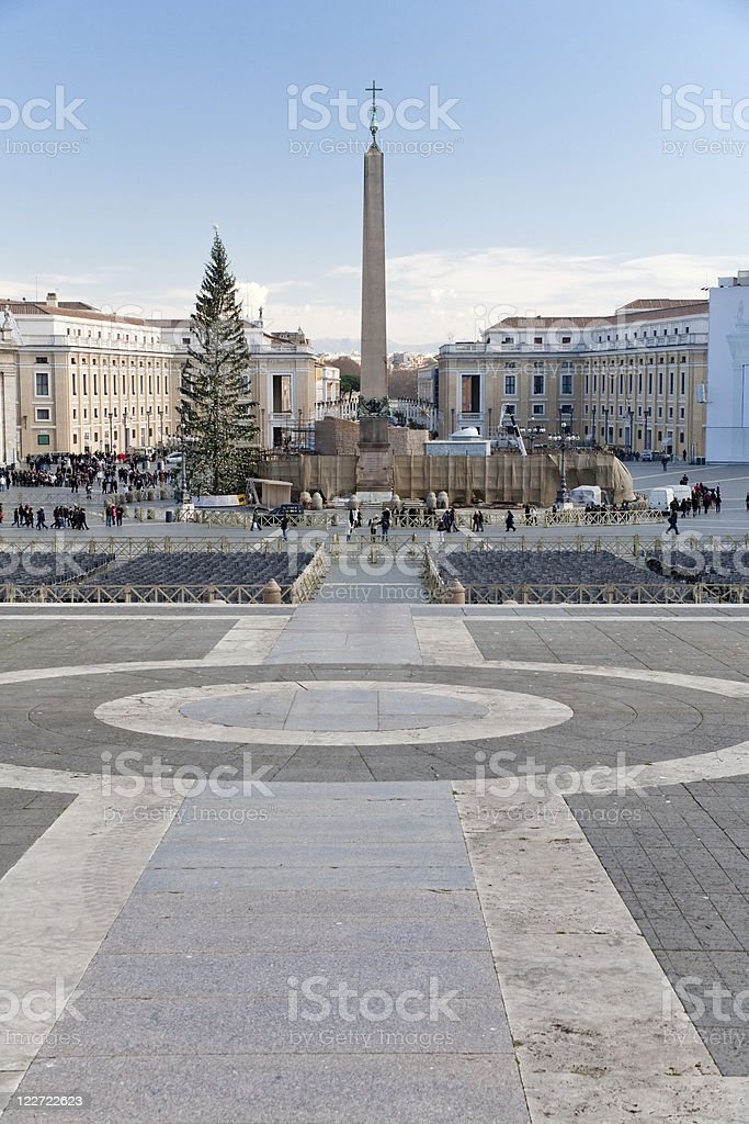 view on Saint Peter Square with Christmas tree stock photo