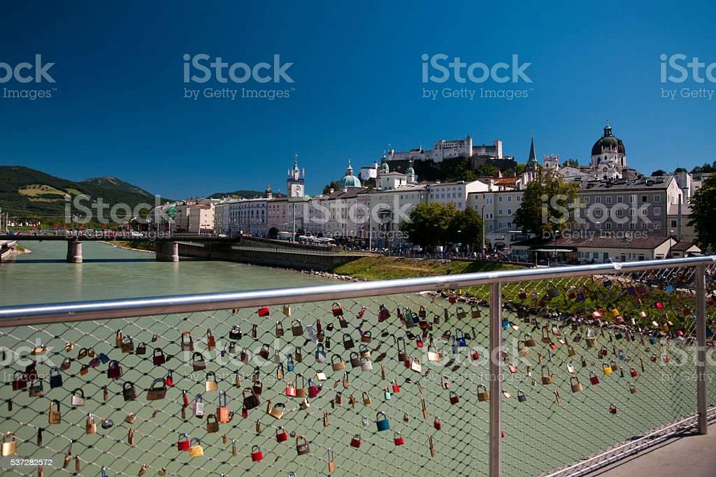 View on Salzburg town- Austria stock photo