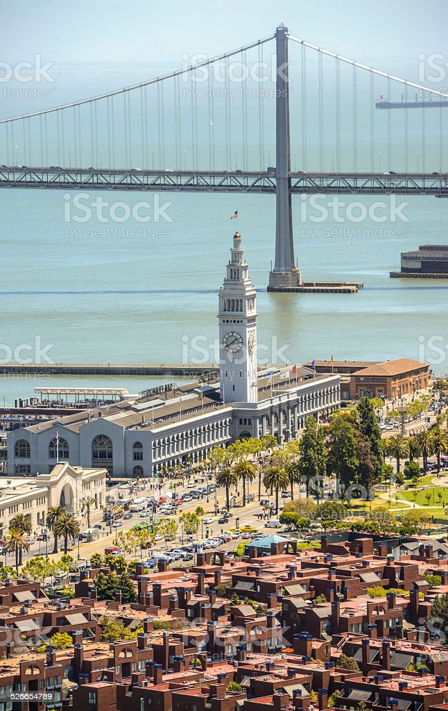 View on San Francisco and The Embarcadero stock photo