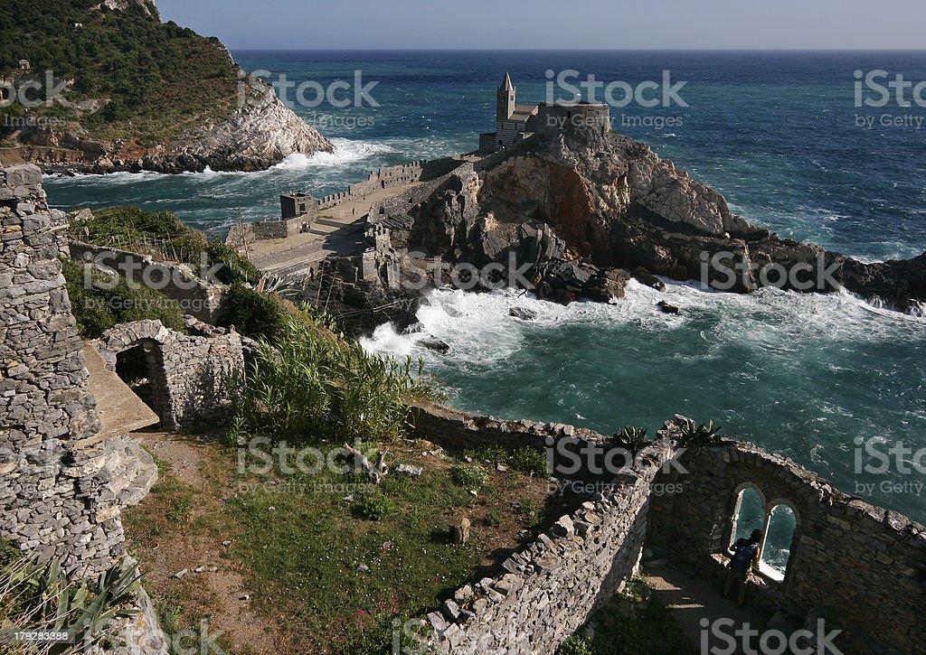 View on San Pietro church in Portovenere stock photo