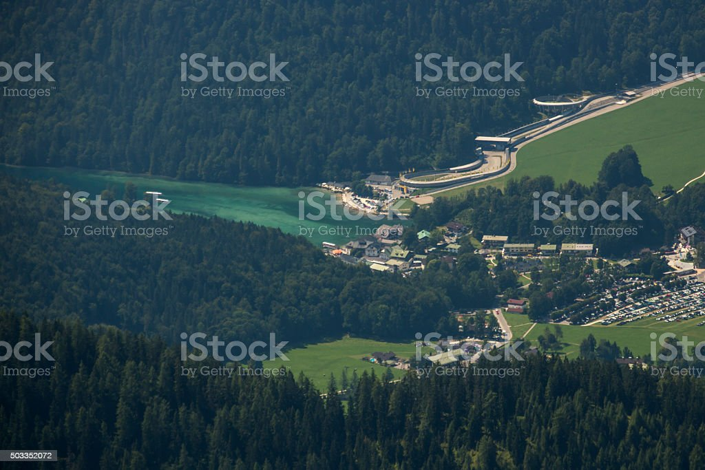 View on Schoenau am Koenigssee in Germany, 2015 stock photo
