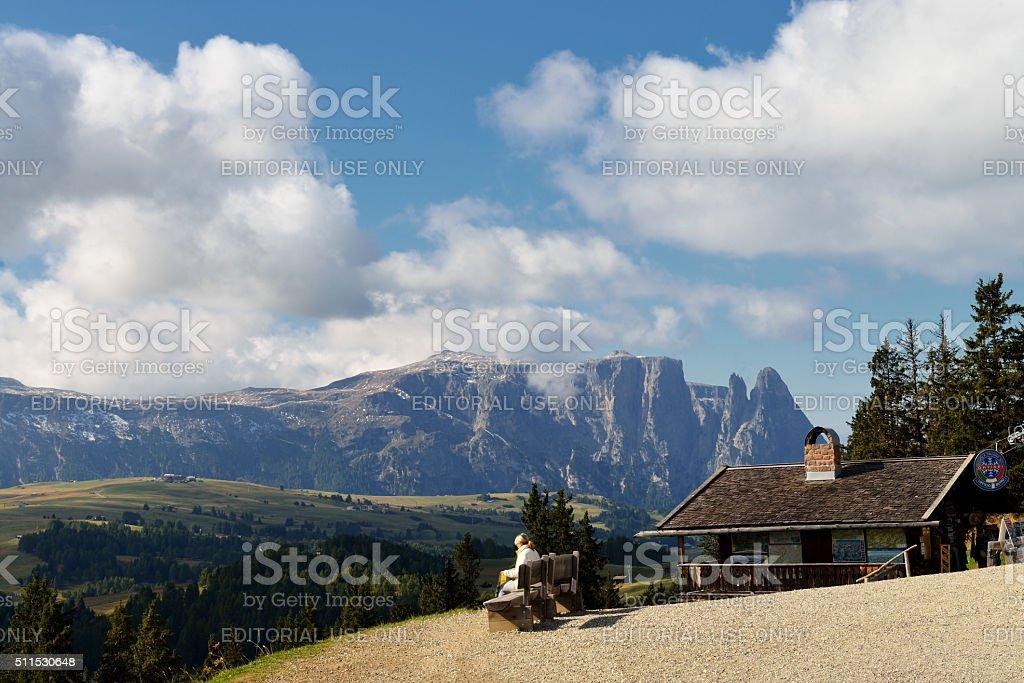 View on Sciliar mountain stock photo