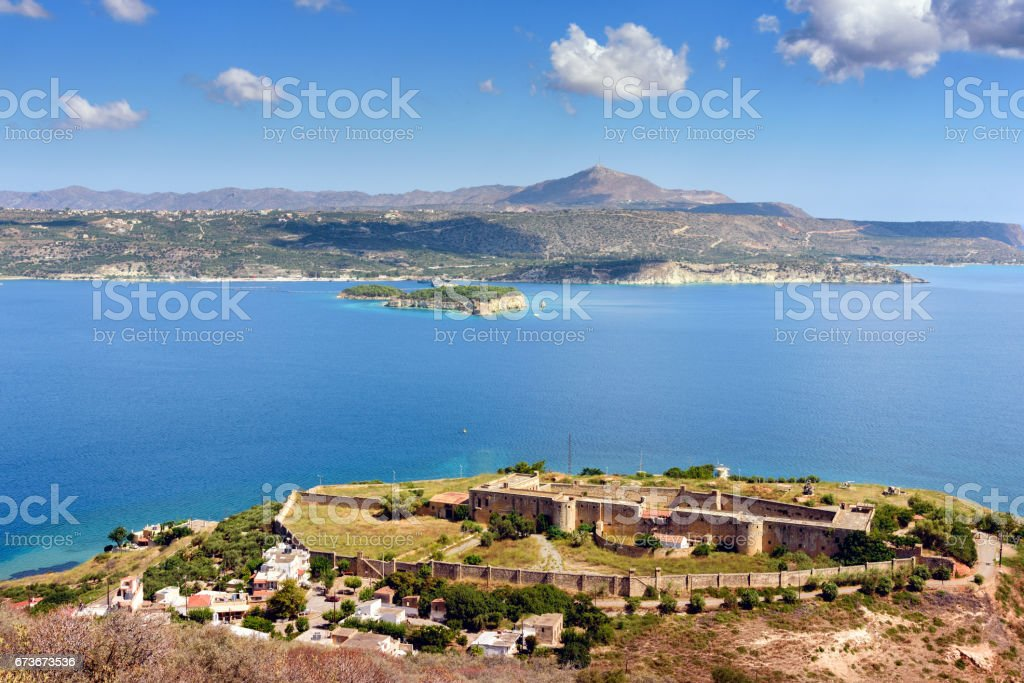 View on sea bay and old Venetian fortress in Aptera stock photo