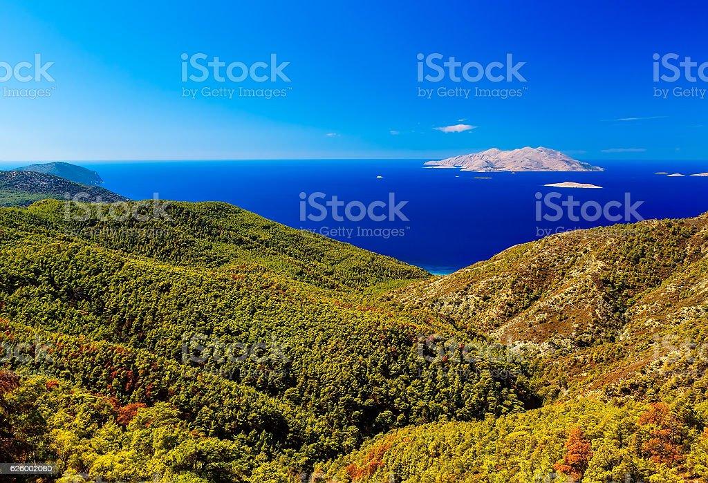 view on sea from Rhodes to Halki island, Greece stock photo