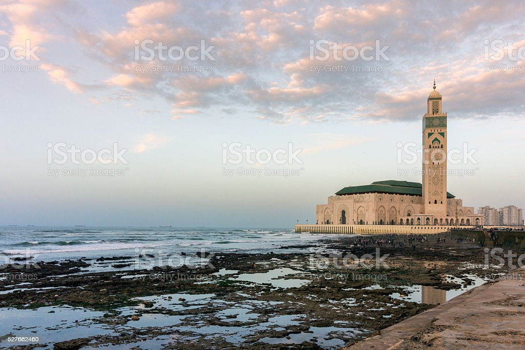 View on seafront of Grande Mosquee Hassan II in Casablanca stock photo