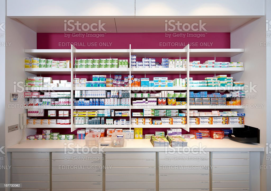 View on shelves of a pharmacy stock photo
