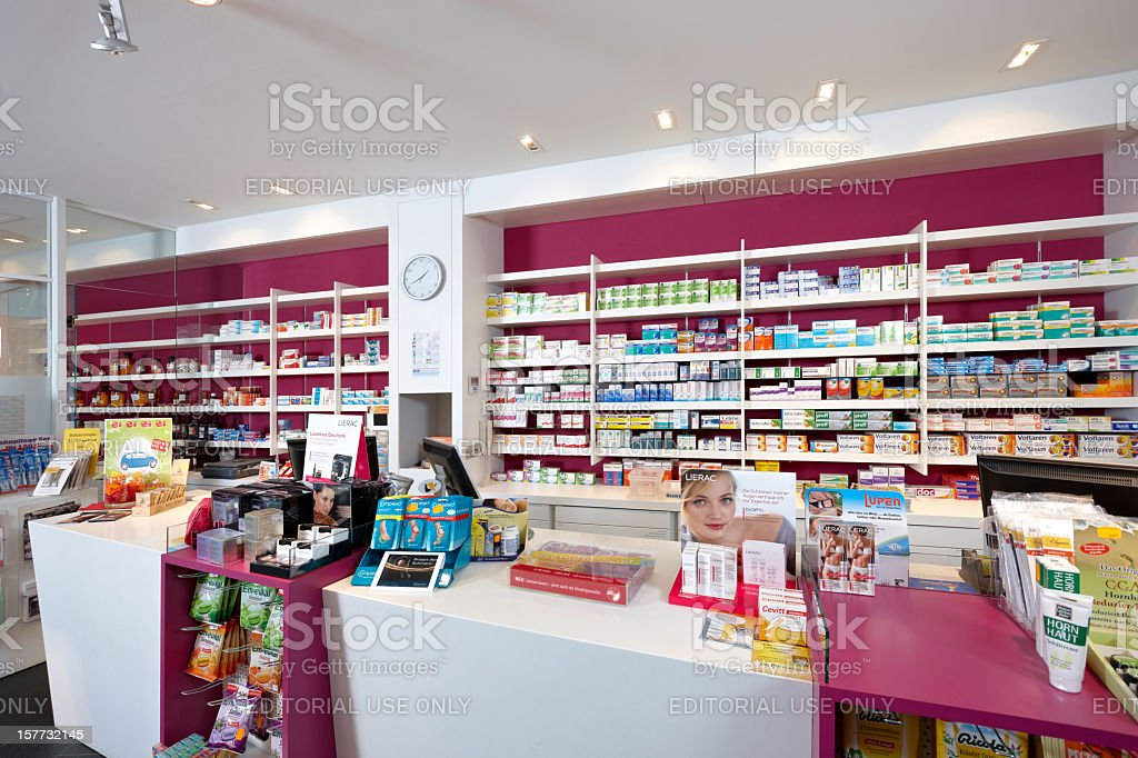 View on shelves of a pharmacy royalty-free stock photo