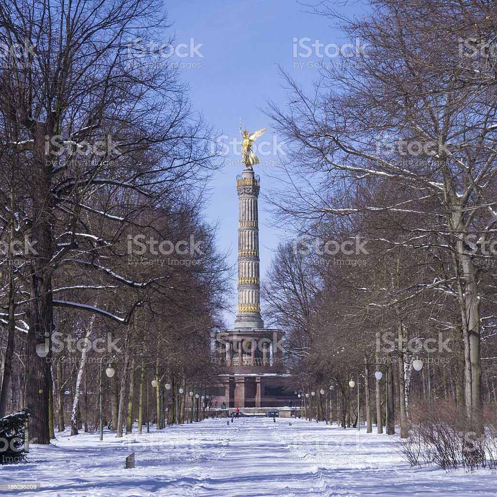 view on siegessaeule in winter stock photo
