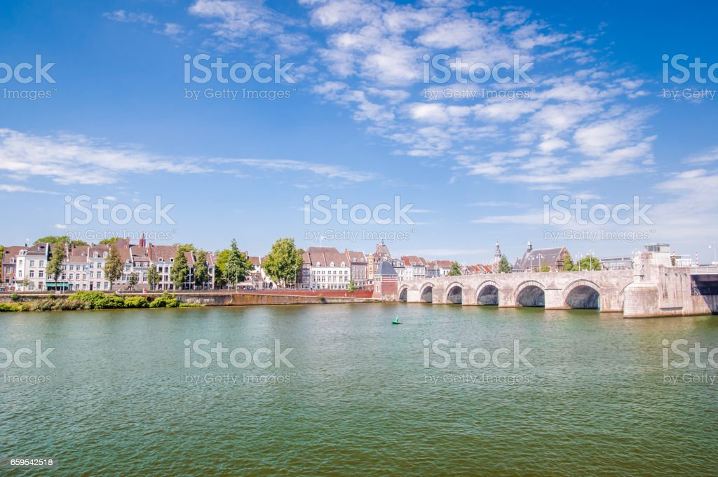 View on Sint Servaasbrug in Masstricht - NETHERLANDS stock photo