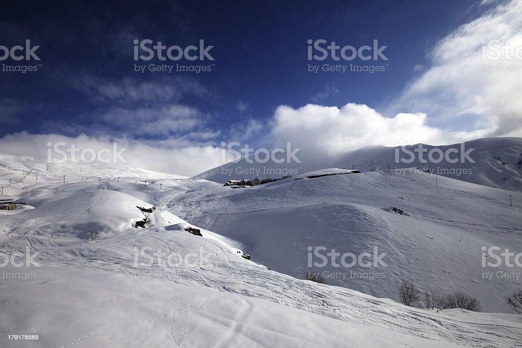 View on ski resort in sun day royalty-free stock photo