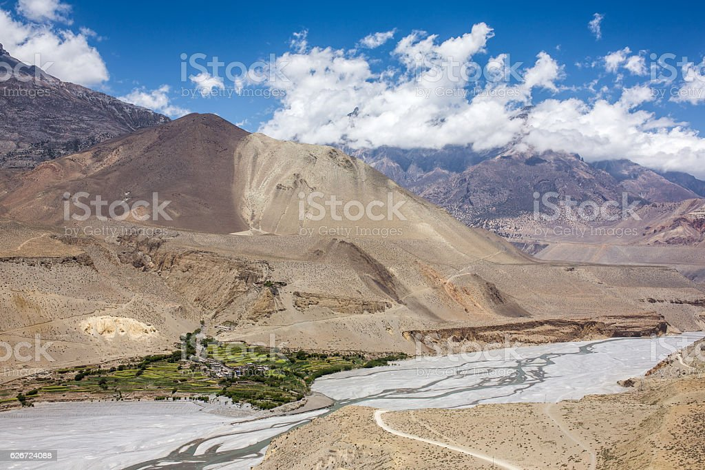 View on small Tiri village in Upper Mustang, Nepal stock photo