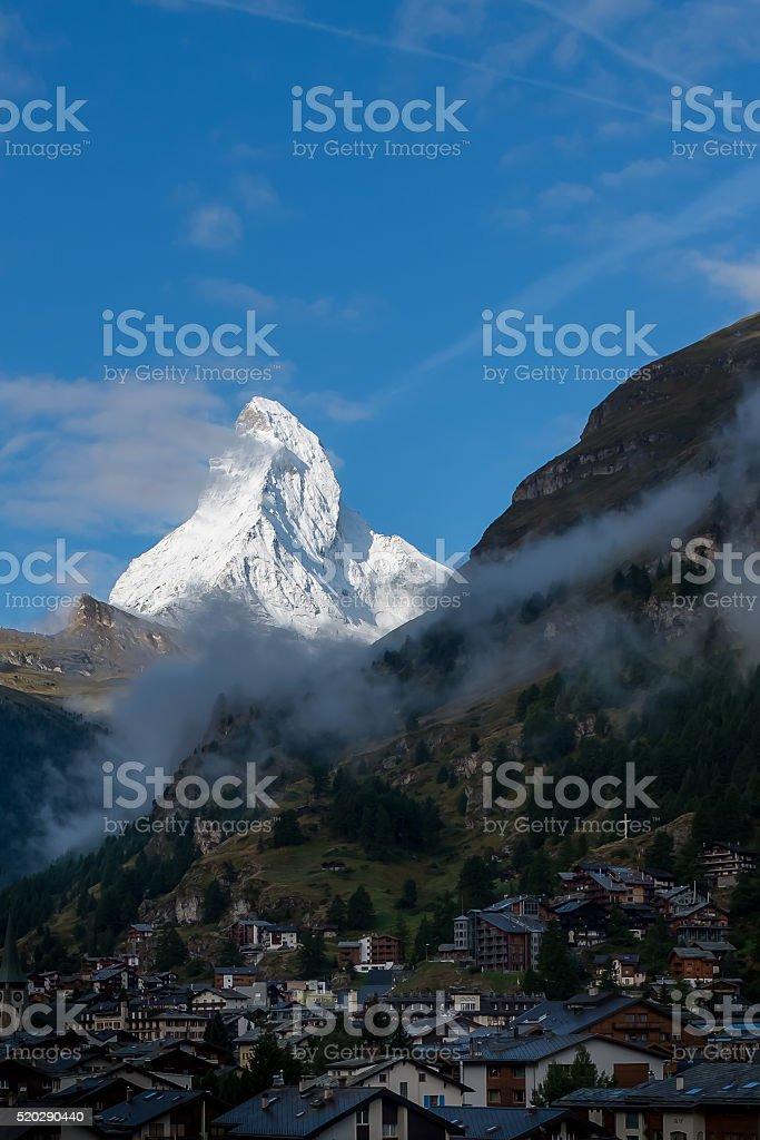 View on snowcapped peak of Matterhorn from Zermatt stock photo