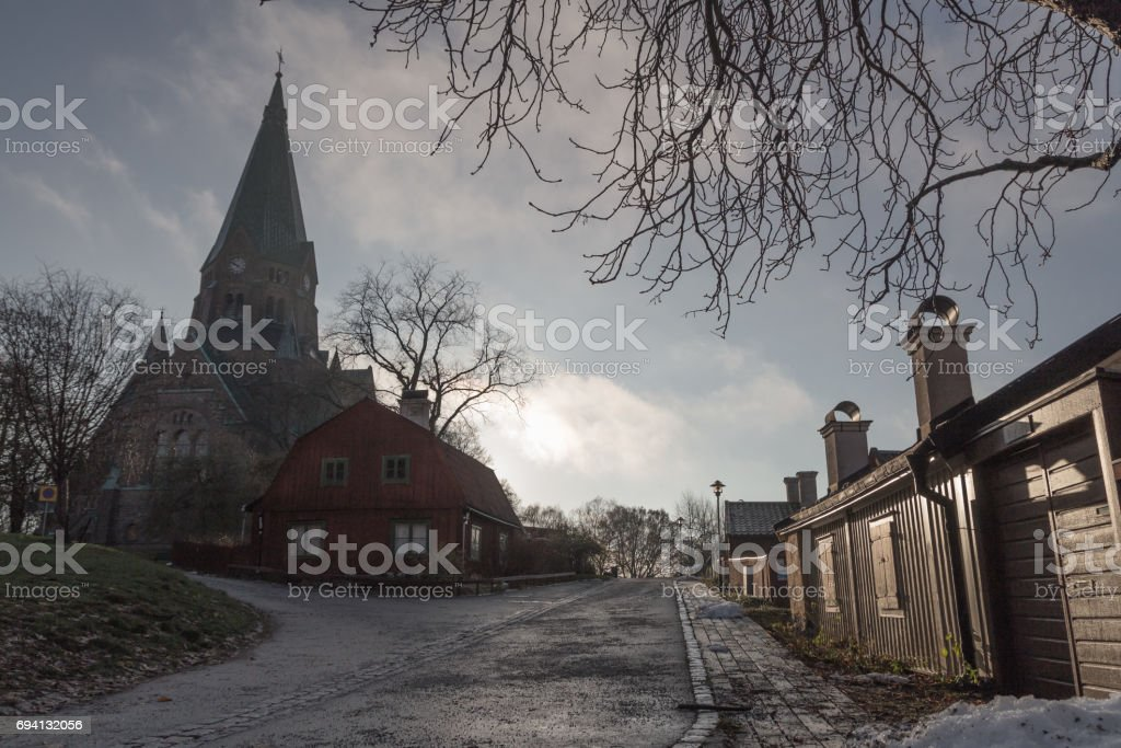 View on Sofia Church in Stockholm stock photo