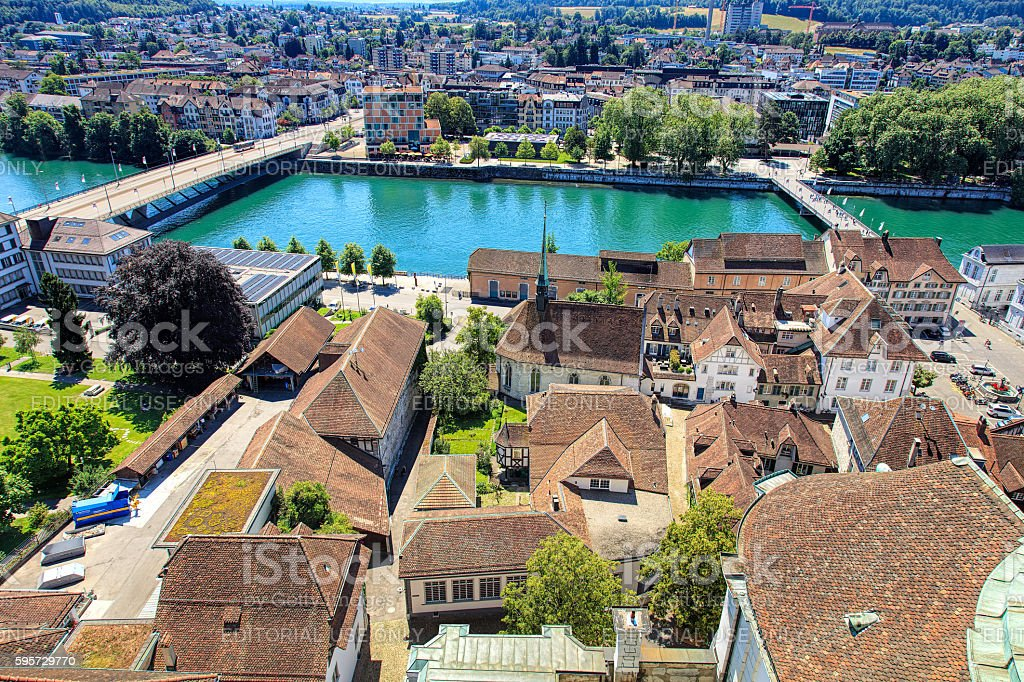 View on Solothurn from the tower of the St. Ursus Cathedral stock photo