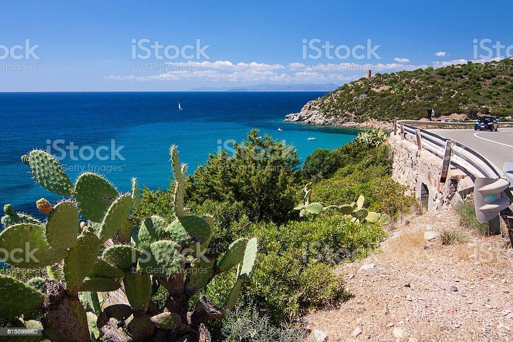 View on Spanish tower in Cala Regina, Sardinia, Italy. stock photo