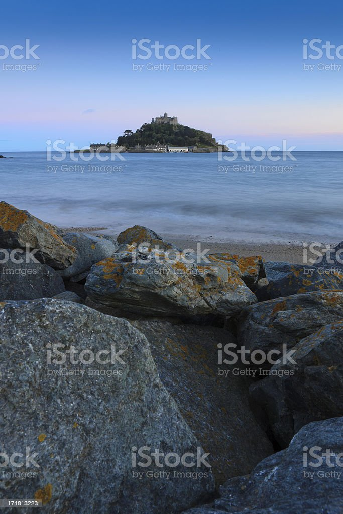 view on St. Michael's Mount at dusk royalty-free stock photo