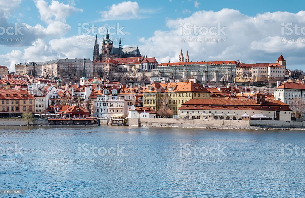 View on St. Vitus Cathedral and Prague Castle stock photo