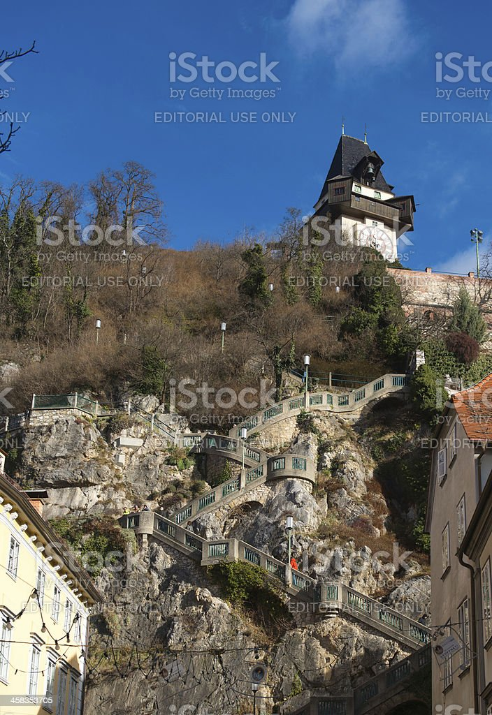 View on stairway to Schlossberg royalty-free stock photo
