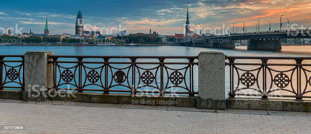 View on stone bridge and medieval buildings of old Riga stock photo