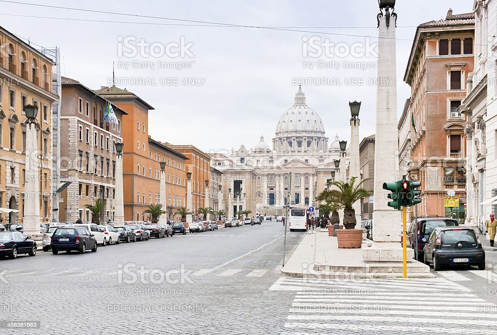 view on St.Peter Basilica from via Conciliazione in Rome stock photo