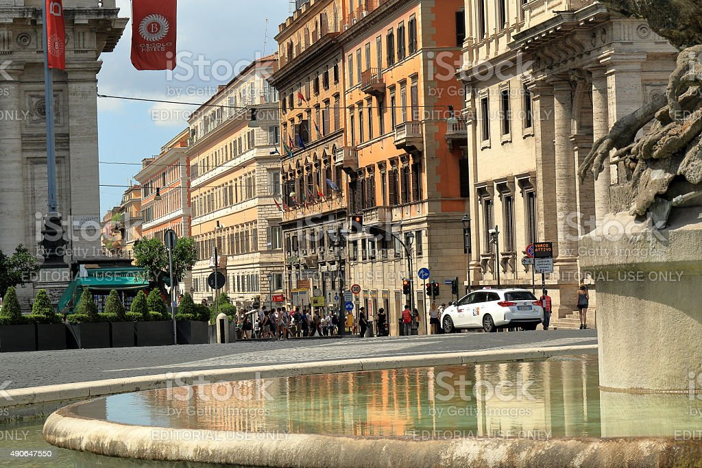 View on street from Fontana delle Naiadi in Rome, Italy stock photo