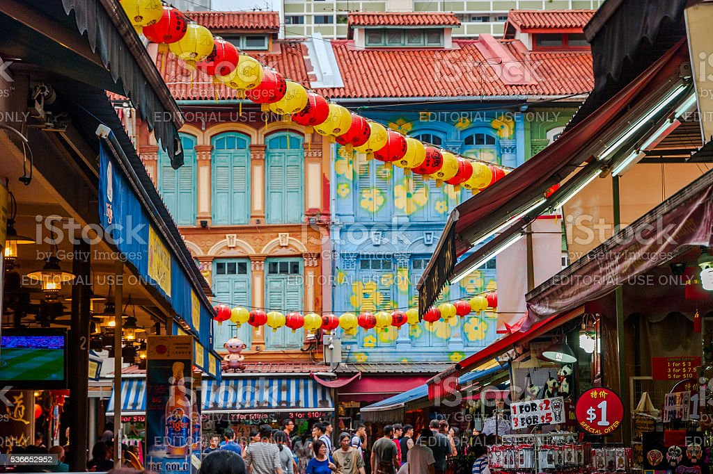 View on street in China town, Singapore stock photo