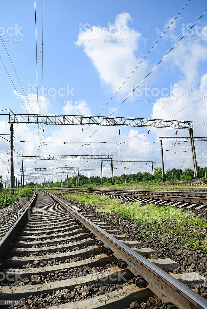 View on summer railroad royalty-free stock photo