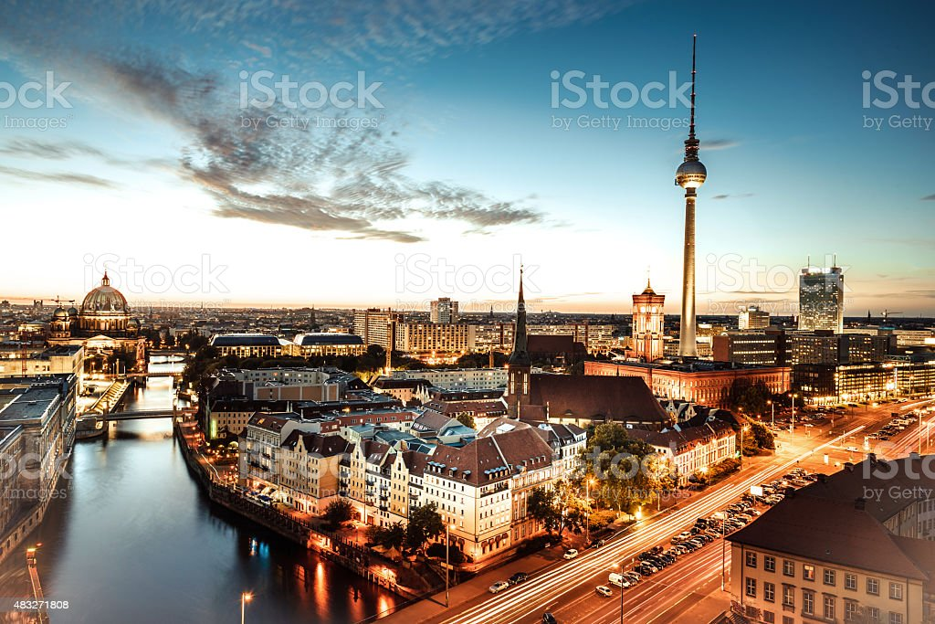 view on sunset berlin with television tower and cathedral stock photo